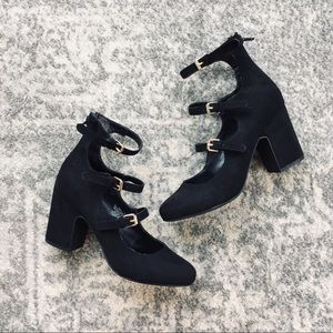 a new day | Black Ballet Strap Faux Suede Heels